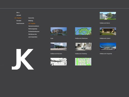 Website-Layout for Arch. J. Krüger, Berlin